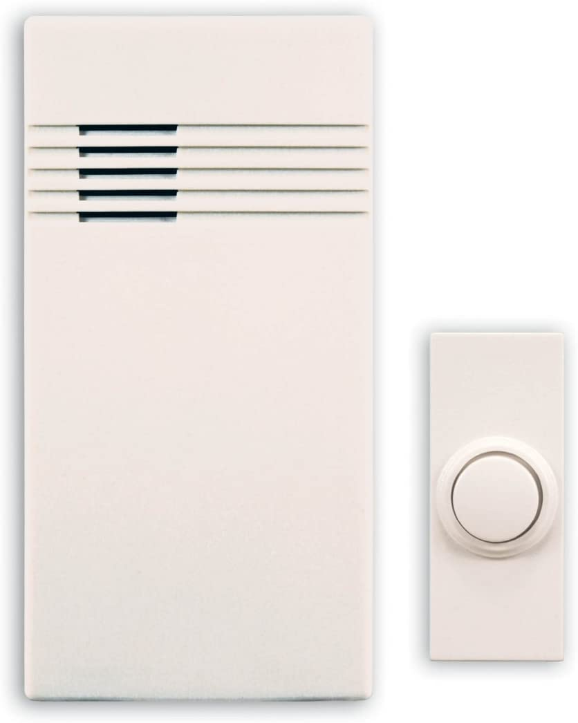 Heath Zenith SL-7750-02 Wireless Battery Operated Door Chime Kit, White