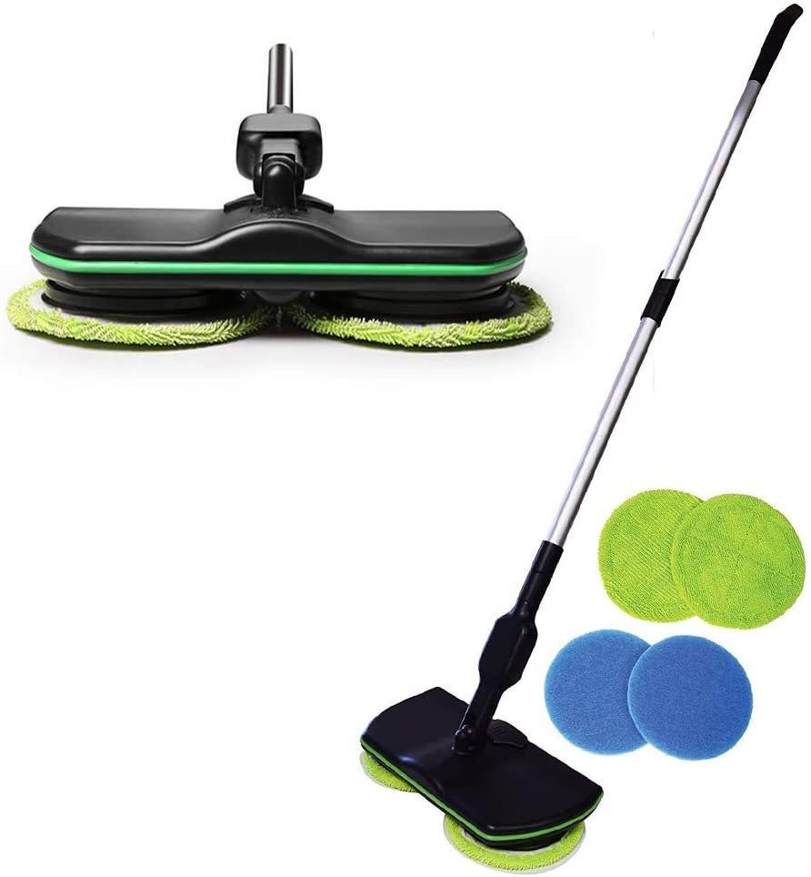ZQ&QY Wireless Rotation Electric Mop,Rechargeable One-Hand Operation Floor Mop,Telescopic Handle Labor-Saving Mop for Hardwood Tile Marble Black 135cm(53inch)