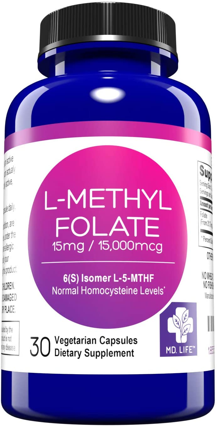 MD. Life L-Methylfolate 15 mg Active Folate 5 mthfr Support Supplement - Professional Strength Methyl Folate - Essential Amino Acids & Brain Supplement- Vegan 30 Purple Carrot Capsules
