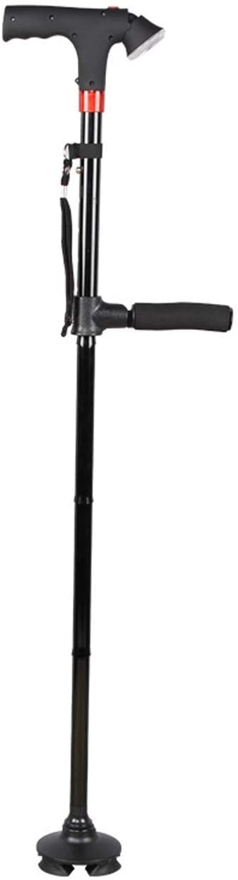 HTL Walking Aid Crutches Old Cane Foldable Cane Double Armrests Auxiliary Handles Illuminated Alarms Led Lights Height Adjustable Crutches Aluminum Cane Multifunctional Outdoor