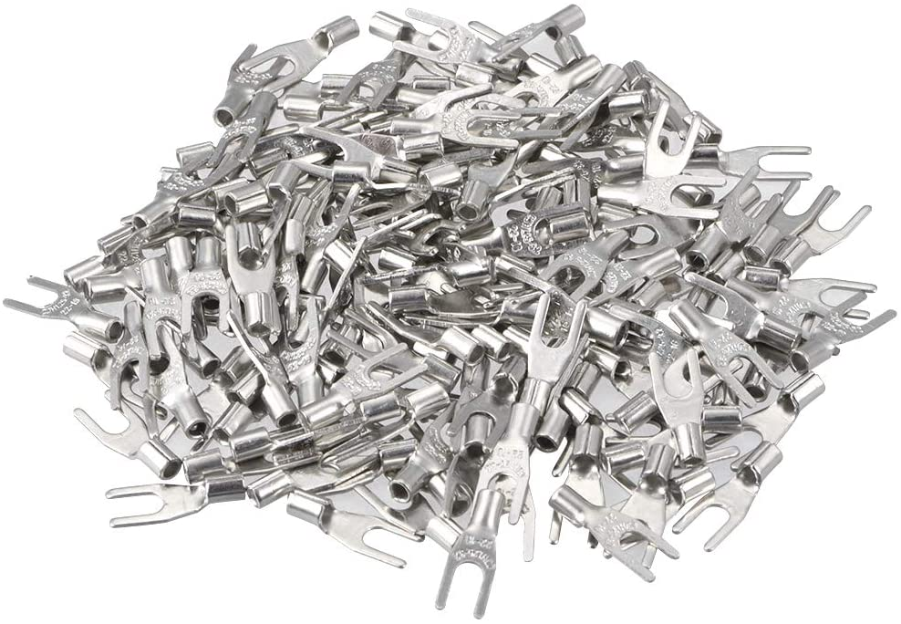 uxcell 250Pcs SNB1.25-3.2 Non-Insulated U-Type Copper Crimp Terminals AWG22-16 Wire Connector Silver Tone