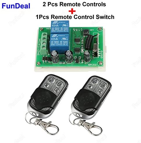 Calvas 433Mhz Wireless RF Switch DC 12V 2CH RF Relay Receiver Module And 433 Mhz Remote Control For DC Motor Forward Reverse Controller - (Color: 1 Receiver and 2 RC)