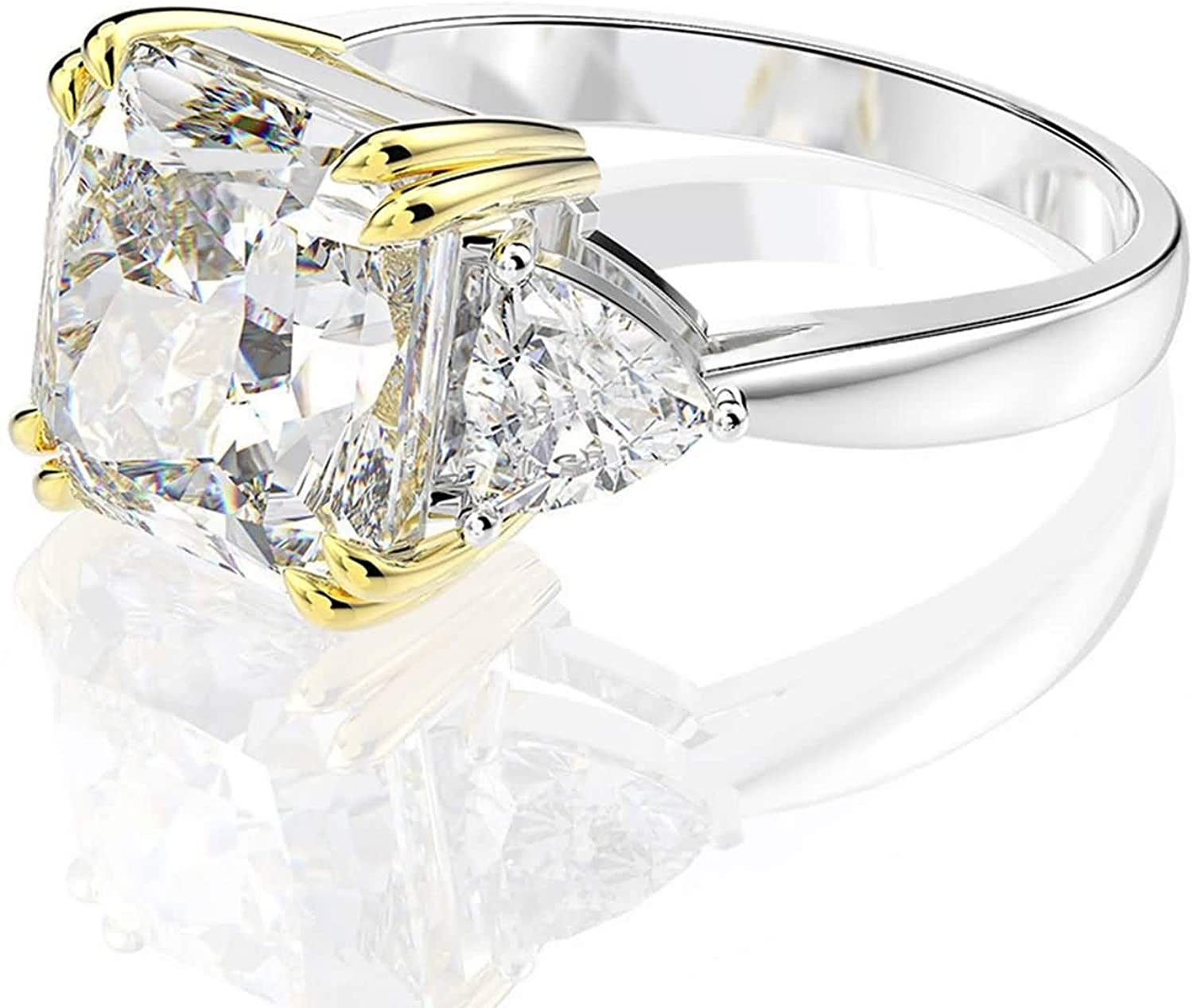 Beydodo Sterling Silver Diamond Wedding Ring, Engagement Rings for Women White Asscher Cubic Zirconia Size 5 to 9