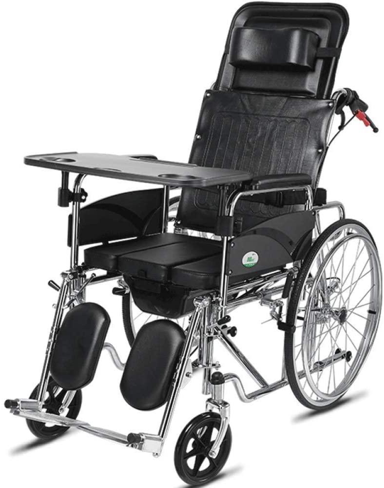 HWZLOIK Wheelchair - Lightweight Bariatric Manual Wheelchair, Fixed Wheels & Heavy-Duty Front Polyurethane Casters,Fold Compact Aid Wheel Chair, 66x120x123cm