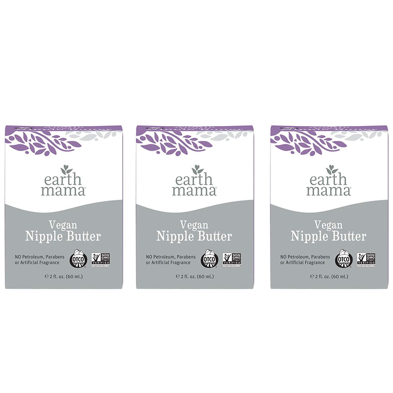 Vegan Nipple Butter Breastfeeding Cream by Earth Mama | Lanolin-free 2-Ounce (3-Pack)