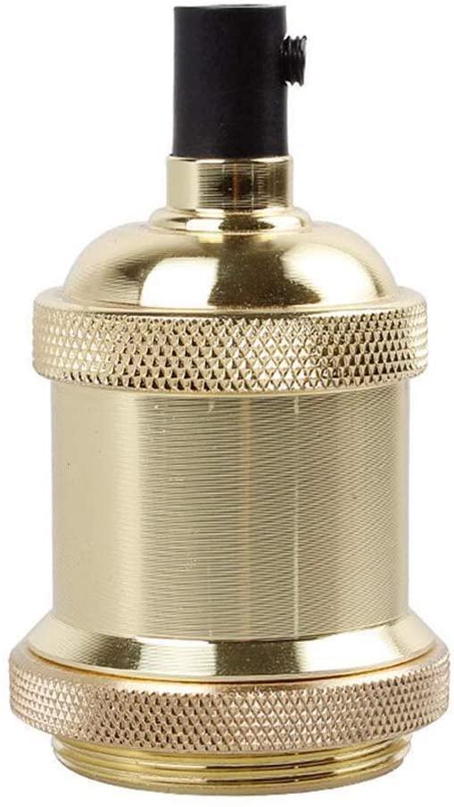 Base Lamp Industrial E27 Socket Bulb Vintage for Durable Aluminum Lightweight(Gold)