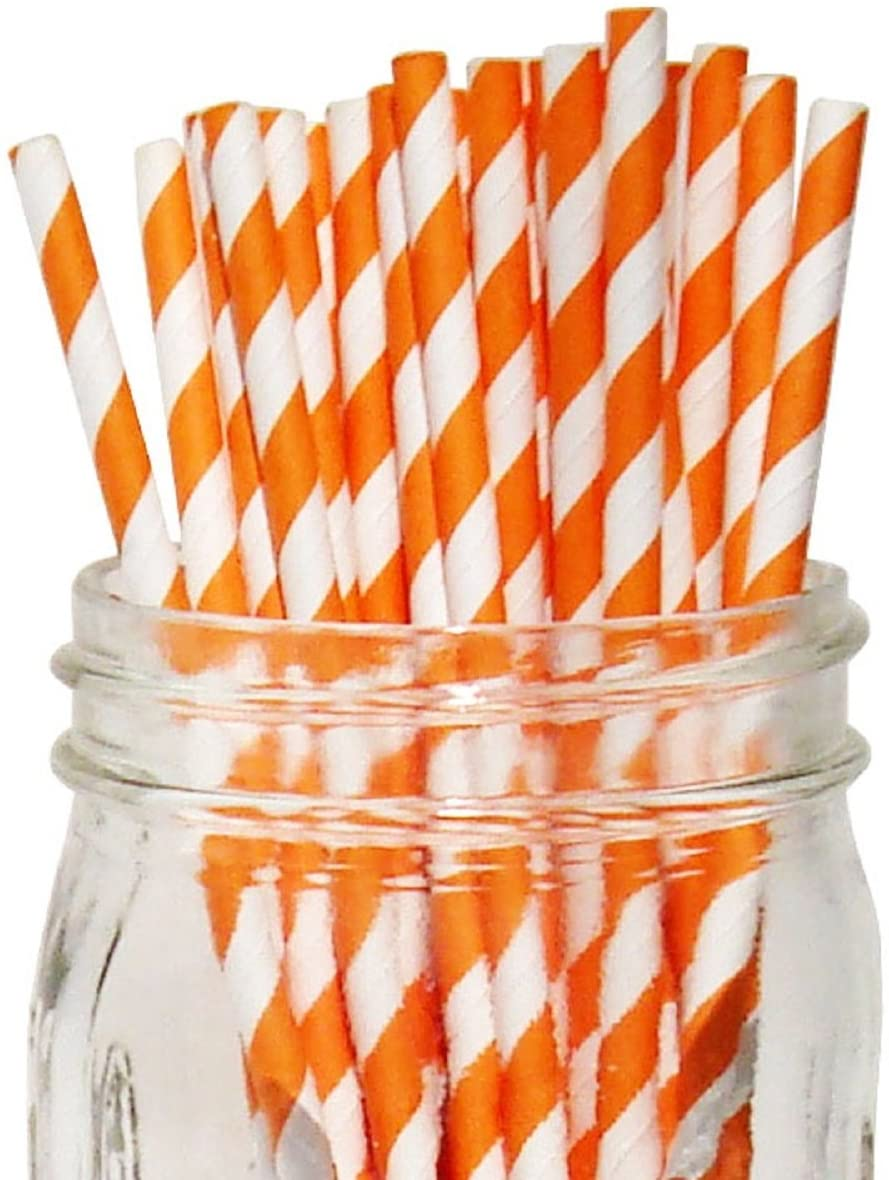 Orange/White Stripe Set of 100 Count Size 7 3/4 inch Stripe Design Paper Drinking Straw Baking Sticks Cake Pop Sticks for Cake Pops Lollipops Crafts Cupcake Toppers Rock Candy and Brownie Pops