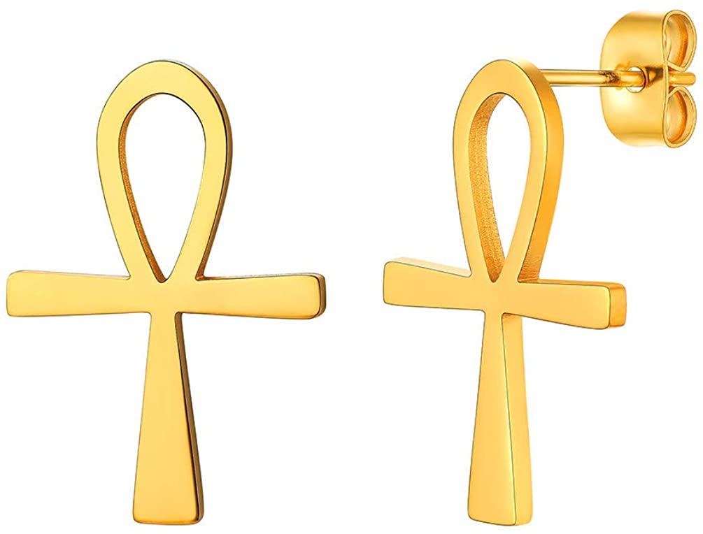 Crescent Moon Star/Ankh Stud Earrings, 18K Gold Plated Stainless Steel Earrings, Women Jewelry Gift
