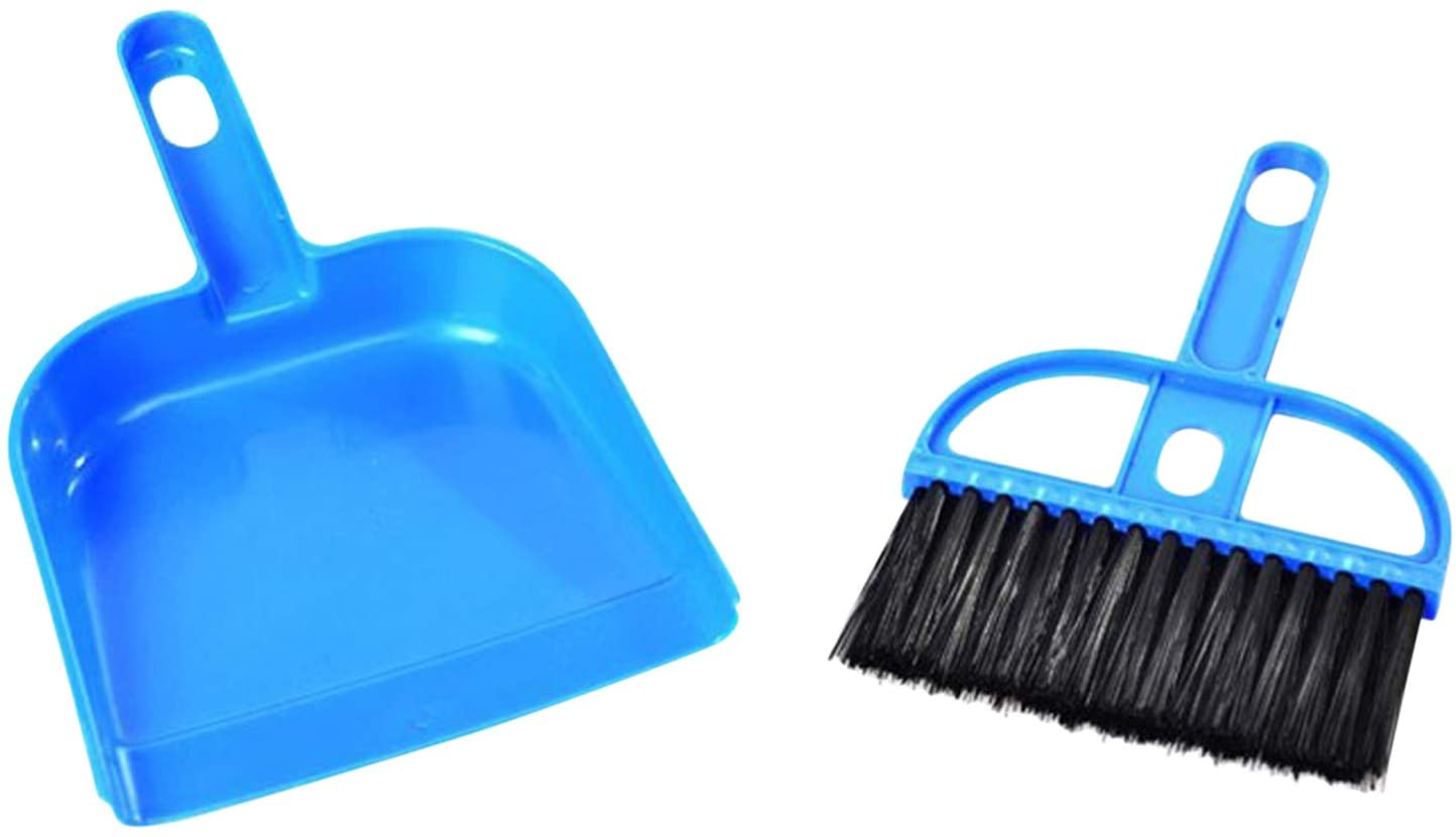 Ying Mini Dustpan and Brush Set for Small Messes Desk Pet Kid's Mealtime Cleaning Tool Blue