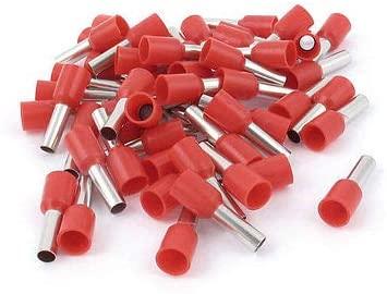 Davitu Terminals - 50pcs AWG12 Wire Copper Crimp Connector Insulated Ferrule Pin Cord Terminal Red