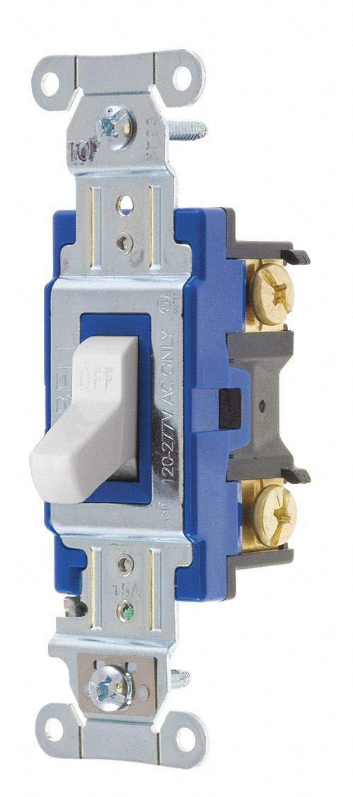 Wall Switch, 15A, White, 1-Pole Type, Toggle