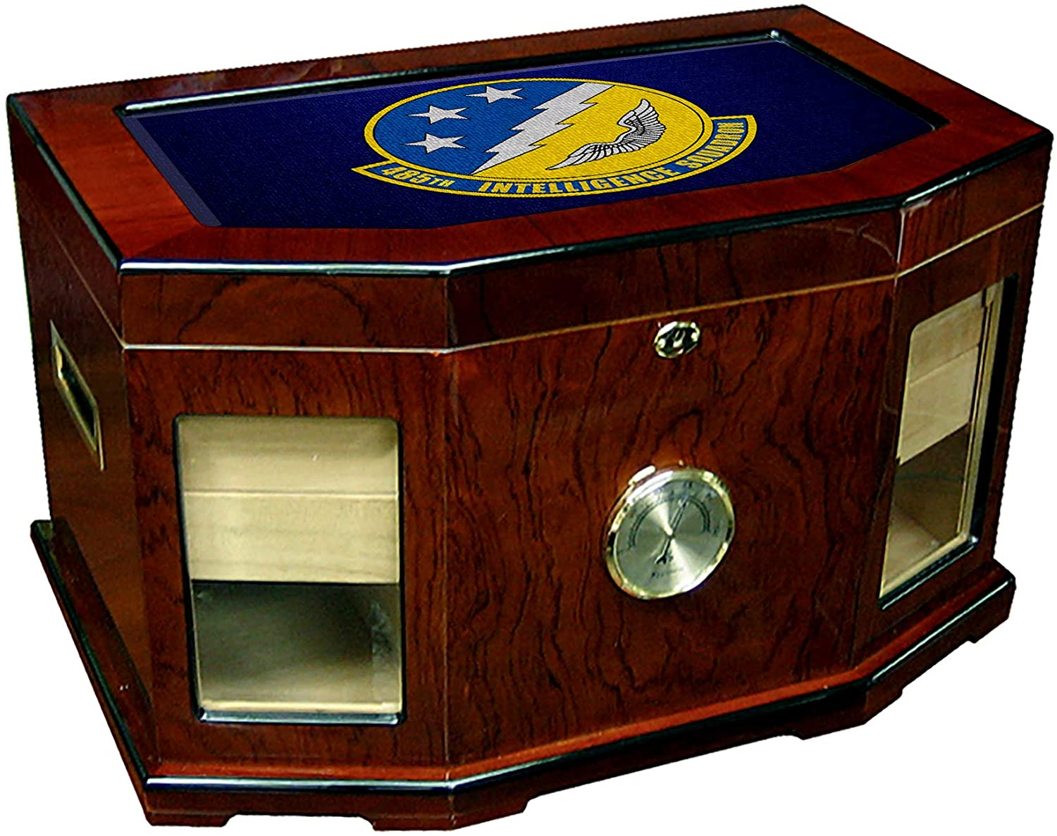 Large Premium Desktop Humidor - Glass Top -US Air Force 485th Intelligence Squadron