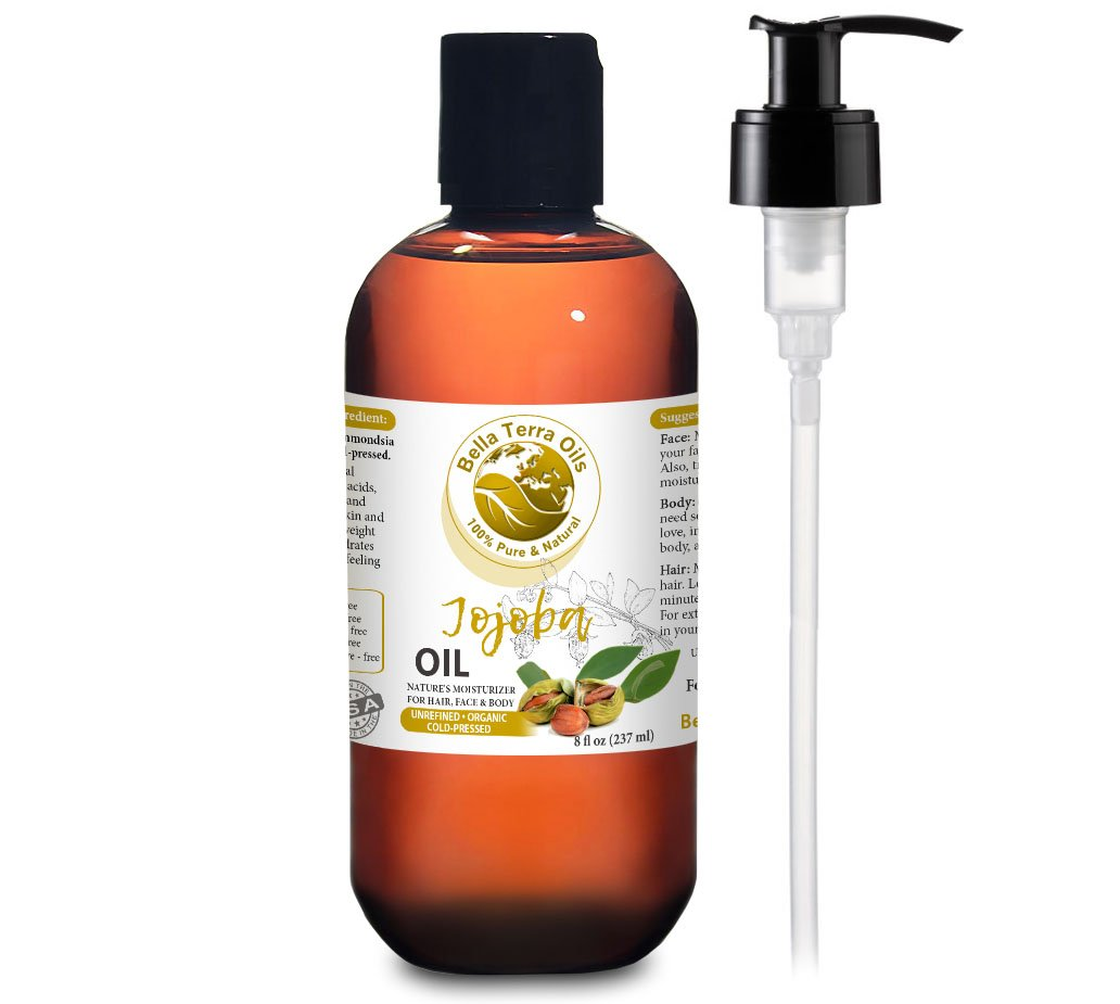 NEW Jojoba Oil. 8oz. Cold-pressed. Unrefined. Organic. 100% Pure. Anti-inflammatory. Hexane-free. Rejuvenates Skin. Softens Hair. Natural Moisturizer. For Hair, Skin, Nails, Beard, Stretch Marks.