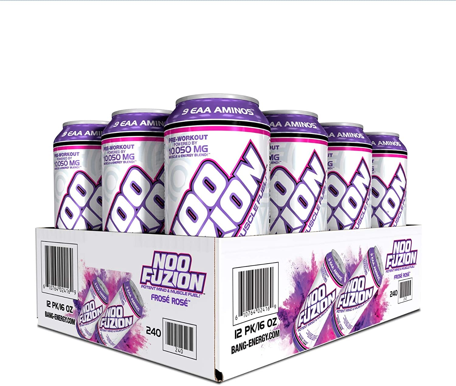VPX, NOO FUZION, Ready-to-Drink Pre-Workout, Potent Mind & Muscle Fuel, Cognizin, 300mg Caffeine, 7000mg EAAs & BCAAs, 2.5g Betaine, 0g Sugar (Frose Rose) (12-Pack)