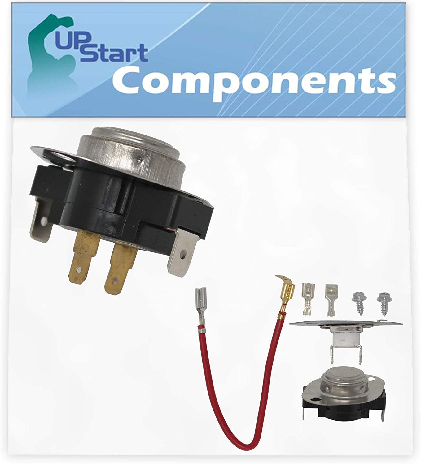 3387134 Cycling Thermostat & 279816 Thermostat Kit Replacement for Estate TEDS740JQ2 Dryer - Compatible with WP3387134 Thermostat & 279816 Thermal Cut-Off Kit - UpStart Components Brand