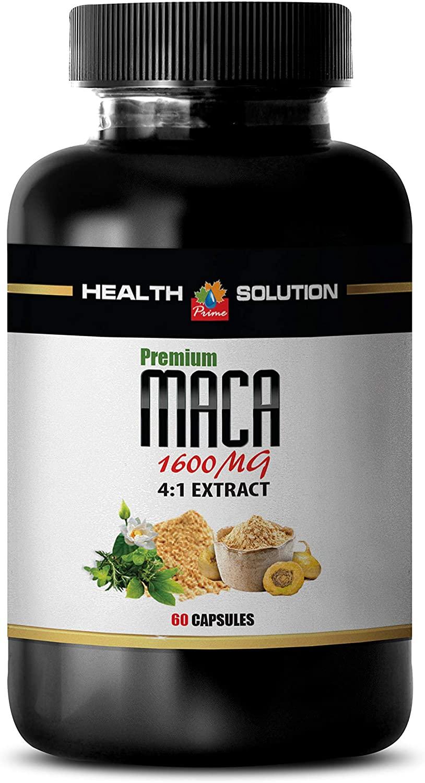 Energy Supplements for Men - MACA Extract 4:1 Premium 1600MG - maca Root Supplement for Women - 1 Bottle 60 Capsules