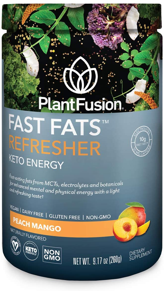 PlantFusion Fast Fats Refresher Keto Energy Powder,Ketogenic Diet Supplement with MCTs & Electrolytes,Vegan Powdered Drink Mix for Athletic Performance,Mental Focus,Ketogenesis,Peach Mango,15 Servings
