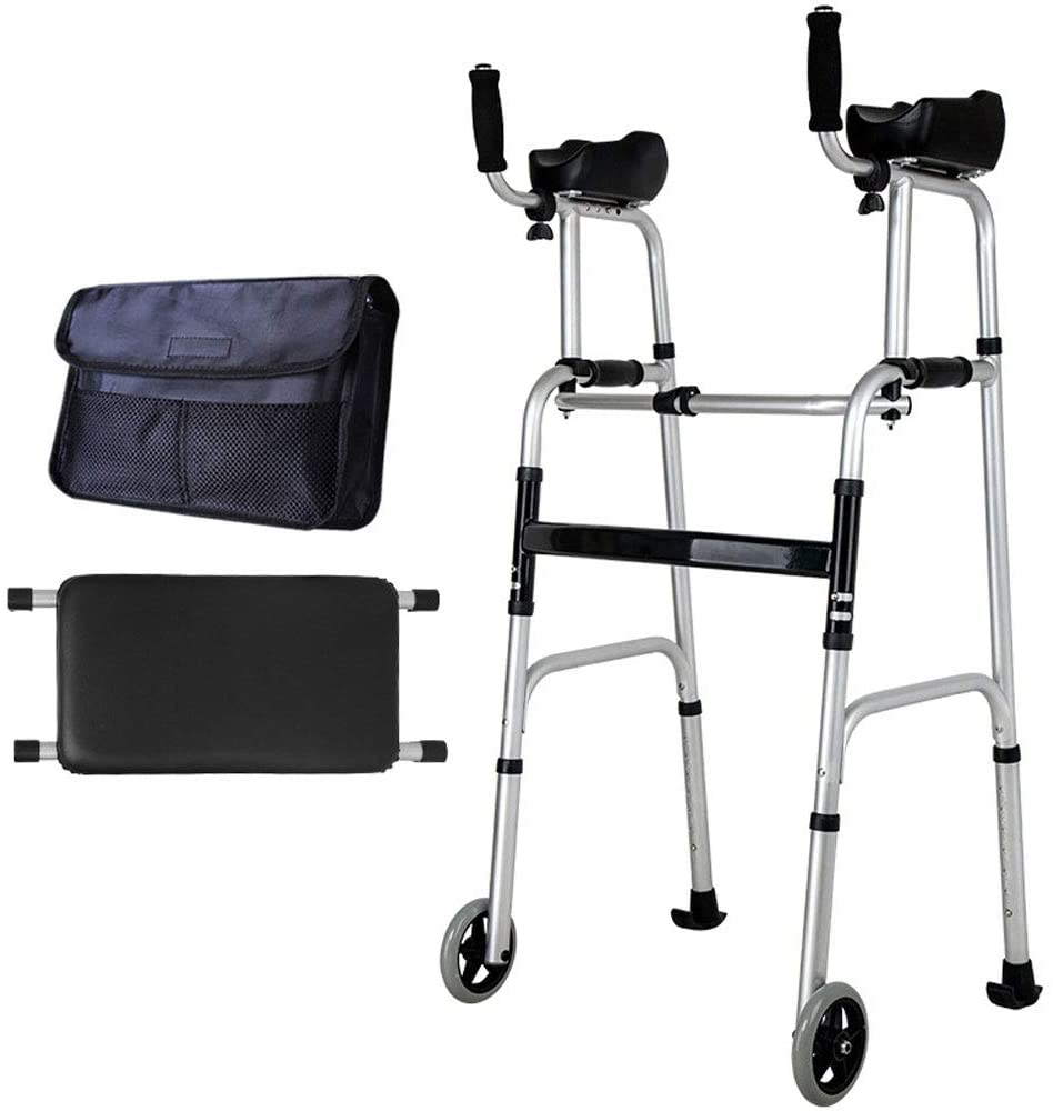 Standard Walkers Elderly People Foldable Walker Adjustable Walking Assist Equipped Wheels Equipped with Arm Rest Pad for The Limited Mobility with Disabled,F