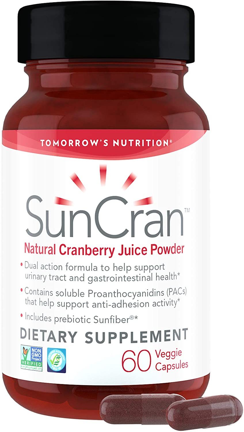 Tomorrow's Nutrition, SunCran, Organic Natural Cranberry Juice Powder for Urinary Tract and Gut Health, Vegan, 60 Capsules (30 Servings)
