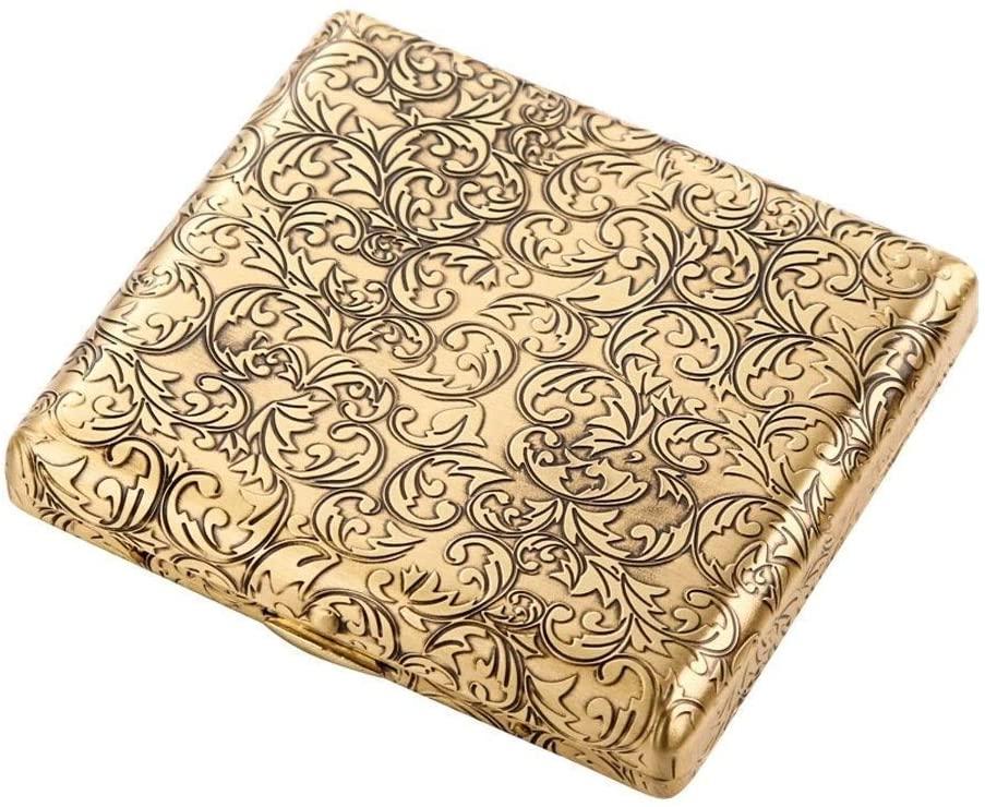 ZH-Wang Cigar Box Cigarette Case 20 Sticks, Portable Simple Retro Cigarette Case Creative Retro Copper Wire, is The for Smokers, Size 9.3 * 8.45 * 1.78 cm,Gold,Anti-Pressure Cabinet