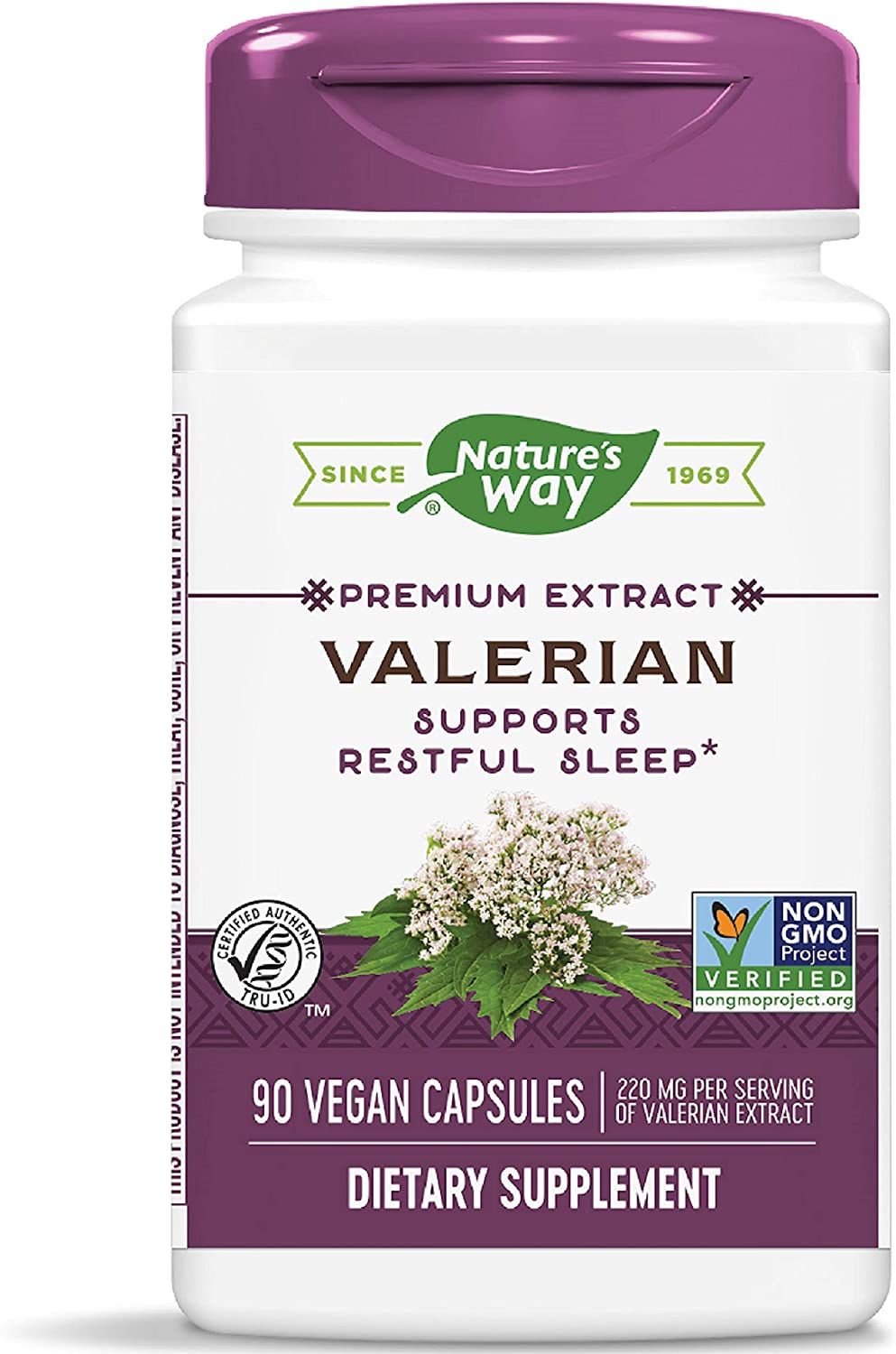 Nature's Way Valerian; 08% Valerenic Acids; Non-GMO Project Verified; Gluten Free; 220 mg of Extract per serving, 90 VCaps
