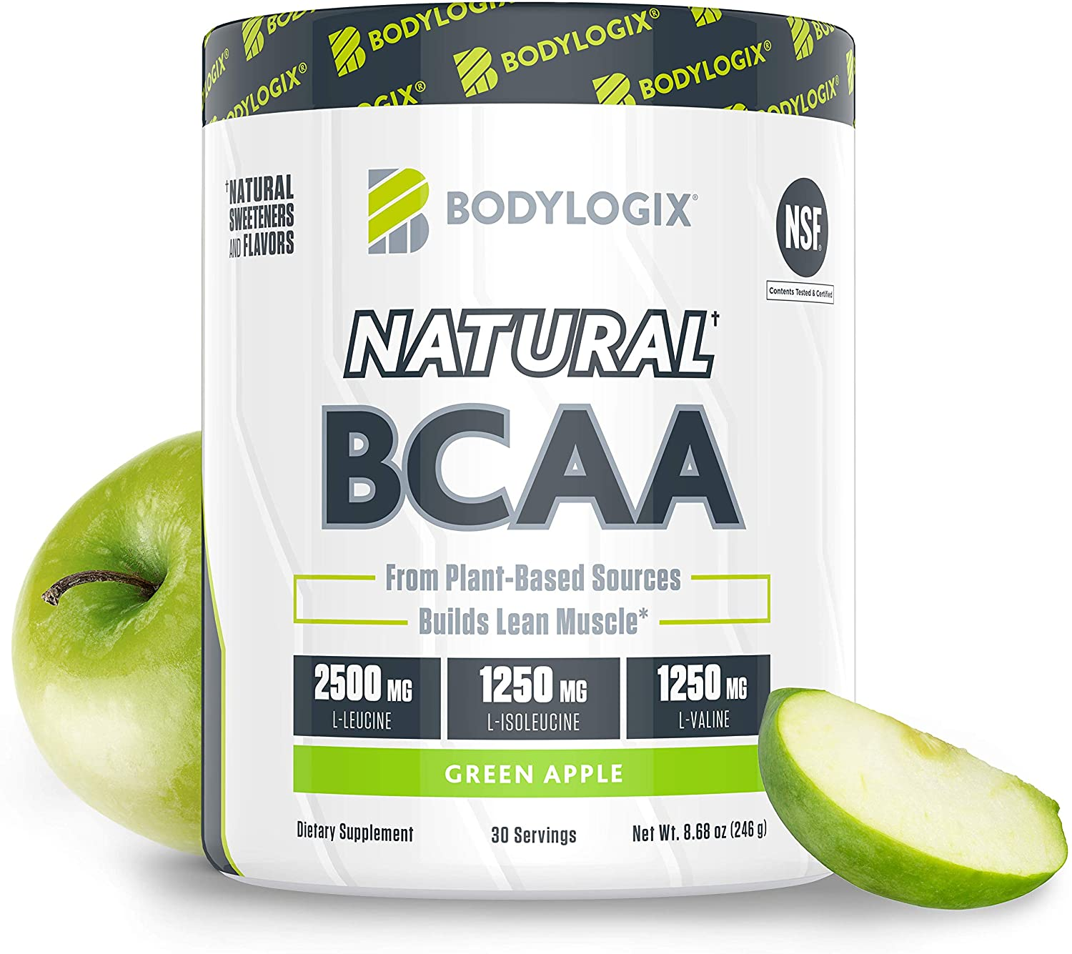 Bodylogix Natural BCAA Powder, NSF Certified, Green Apple, 30 Servings