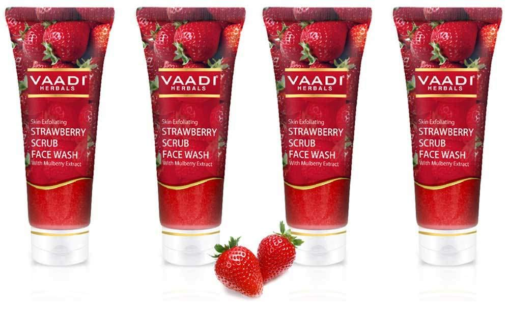 Vaadi Herbals Value Pack Of Strawberry Scrub Face Wash With Mulberry Extract (4x60ml)