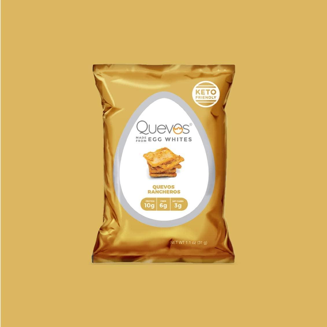 Quevos Keto Friendly Egg White Chips + Protein & Fiber - Gluten Free, Soy Free, Lactose Free - 12 Pack (1.1 oz Each Bag) (Quevos Rancheros)