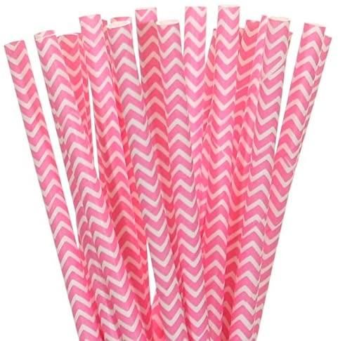 Biodegradable Paper Straws Hot Pink Chevron (25)