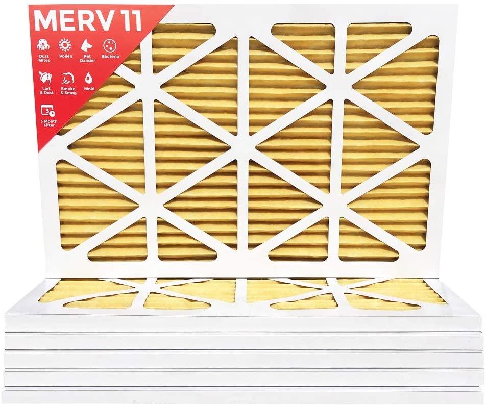 16x25x1 MERV 11 (MPR 1000) Pleated AC Furnace Air Filter - 6 Pack