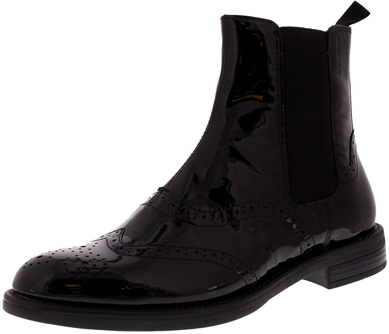 Vagabond Womens Amina Office Work Block Heel Patent Leather Ankle Boot - Black