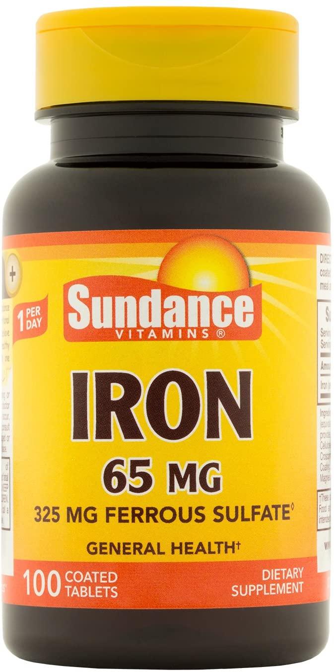 Sundance Iron 65 mg Errfous Sulfate, 100 Count
