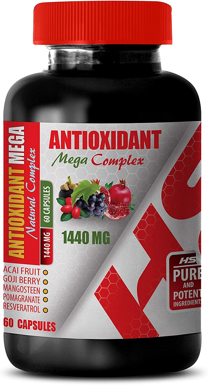 antioxidant Formula Supplement - ANTIOXIDANT Natural MEGA Complex 1440 MG - Acai Fruit Extract - 1 Bottle 60 Capsules