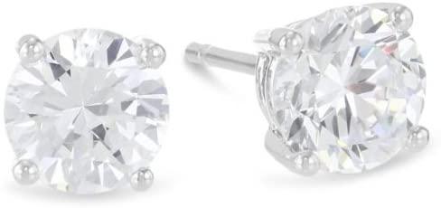 2/3 Carat Ideal Cut Diamond Stud Earrings Platinum Round Brilliant Shape 4 Prong Push Back (I-J Color, I2 Clarity)