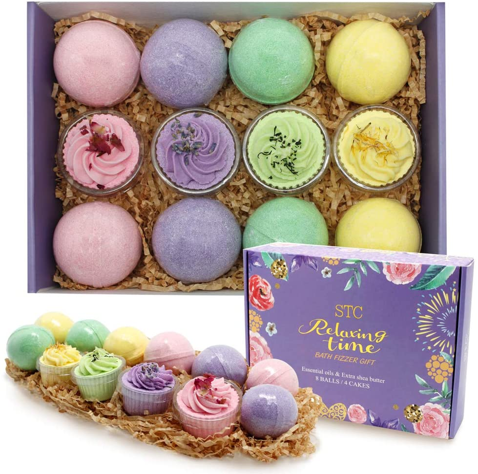 Bath Bombs Gift Set 12pcs Bath Bombs Rich in Essential Oil, Shea Butter, Fizzy Spa to Moisturize Dry Skin,Best Gift for Women and Kids