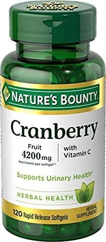 Nature's Bounty Cranberry Fruit 4200 mg, Plus Vitamin C, 120 Softgels