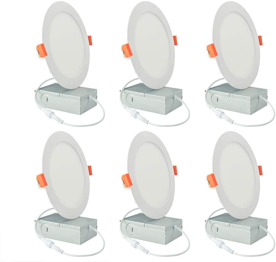 GO JOIN LED 6 Inch Recessed Lighting with Junction Box, 15W 1200lm Dimmable Recessed Ceiling Light, ETL & Energy Star Certified Downlight, 4000K Cool White, Pack of 6