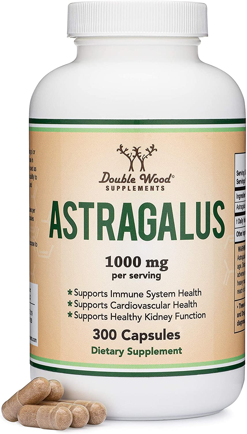Astragalus Root Capsules - 1,000mg Per Serving (300 Capsules) High in Polysaccharides, Made in The USA for Aging, Cardiovascular, and Immune Support by Double Wood Supplements