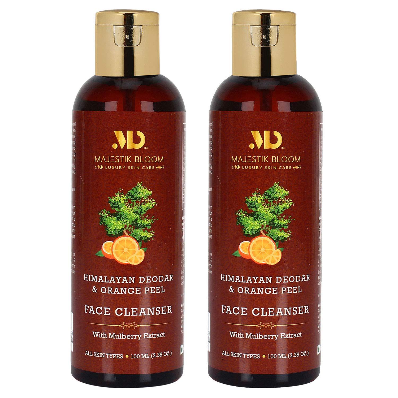 Majestik Bloom Himalayan Deodar & Orange Peel Gentle Face Cleanser, With Mulberry, Neroli & Aloe Vera, Anti Aging, Exfoliating for All Skin Types, Natural & Organic, Women and Men, 100 ml / 3.38 fl oz (Pack of 2)