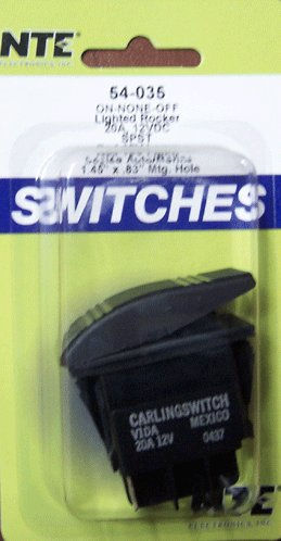 NTE Electronics 54-035 Sealed Automotive/Marine Nylon Snap-in Rocker Switch, Illuminated, SPST Circuit, ON-None-Off Action, Red Lens, 0.250