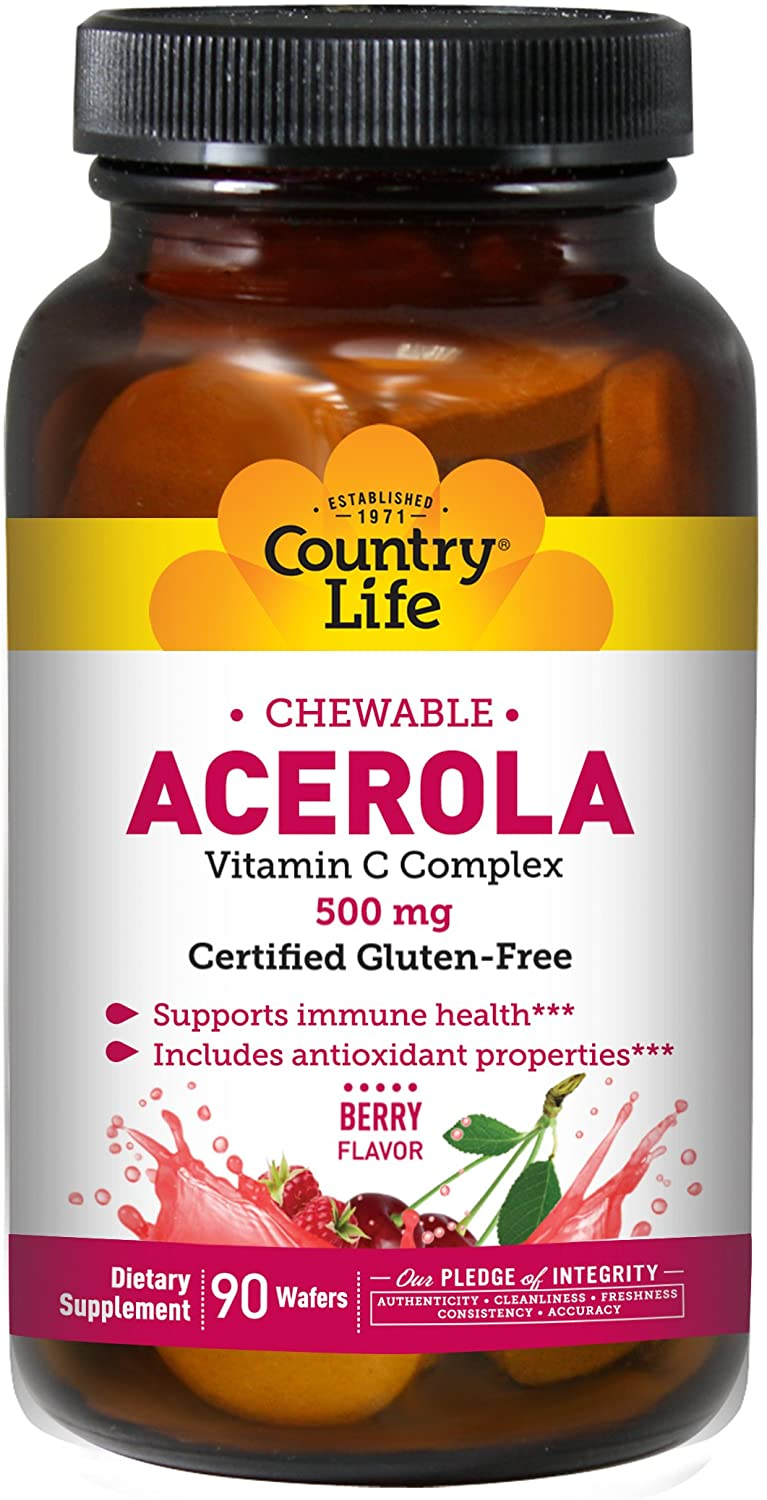 Country Life Acerola 500mg Chewable Vitamin C Complex - 90 Wafers