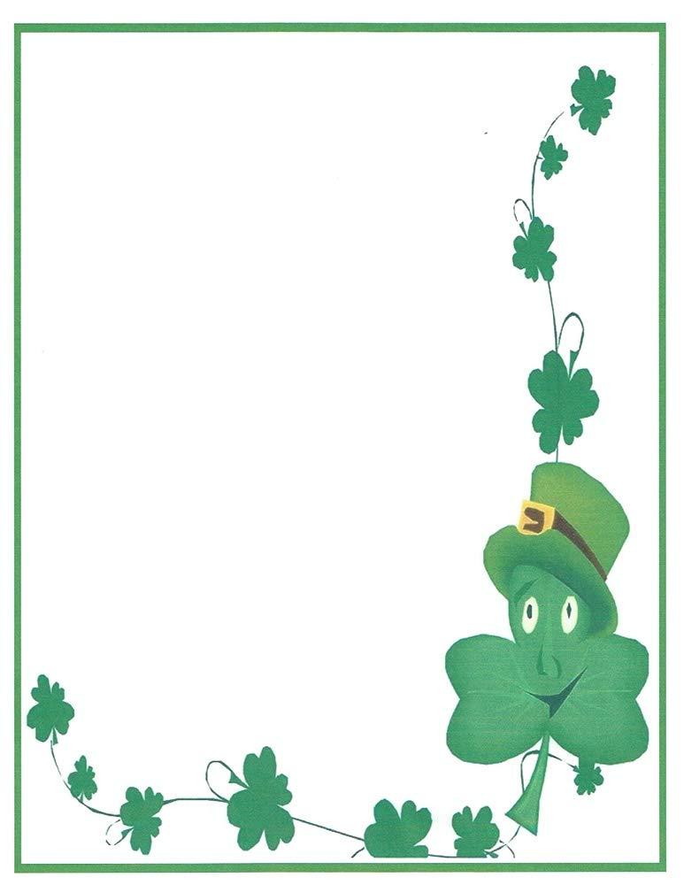 St. Patrick Day Smiling Shamrock Stationery Printer Paper 26 Sheets