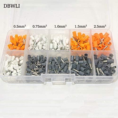 Davitu Terminals - 380pcs AWG22-14 Cord Pin End Terminal Kit Set Wire Copper Tubular Ferrule Crimp Connector E0508 E7508 E1008 E1508 E2508 - (Color: Red)