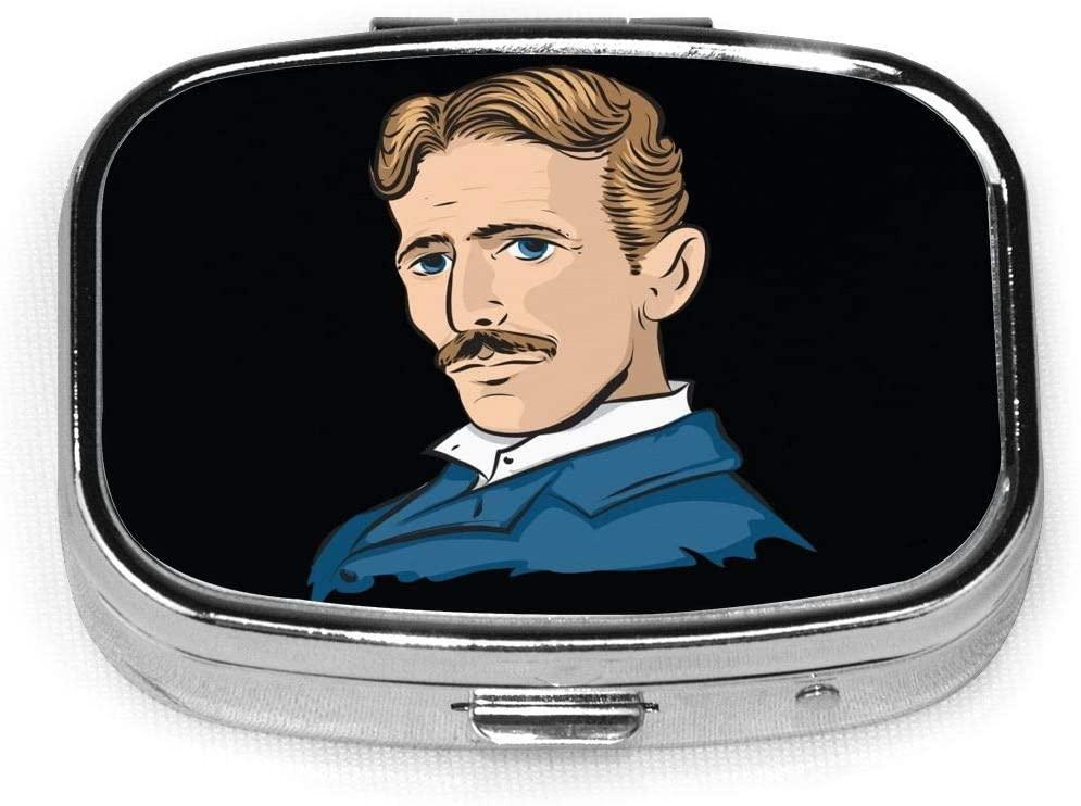 Wehoiweh Nikola Tesla 2.2x1.6x0.7 Inch Mini Medicine Box, Full Size Printing is Easy to Carry