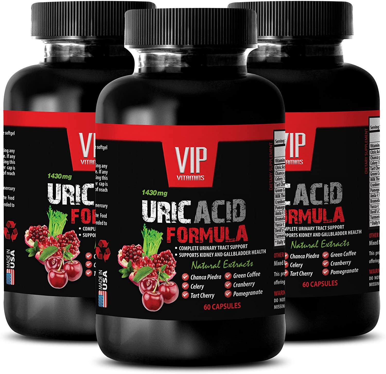 Uric Acid Pain - URIC Acid FOMULA Natural Extract 1430Mg - Goldenrod, Turmeric, Astragalus - 3 Bottles 180 Capsules