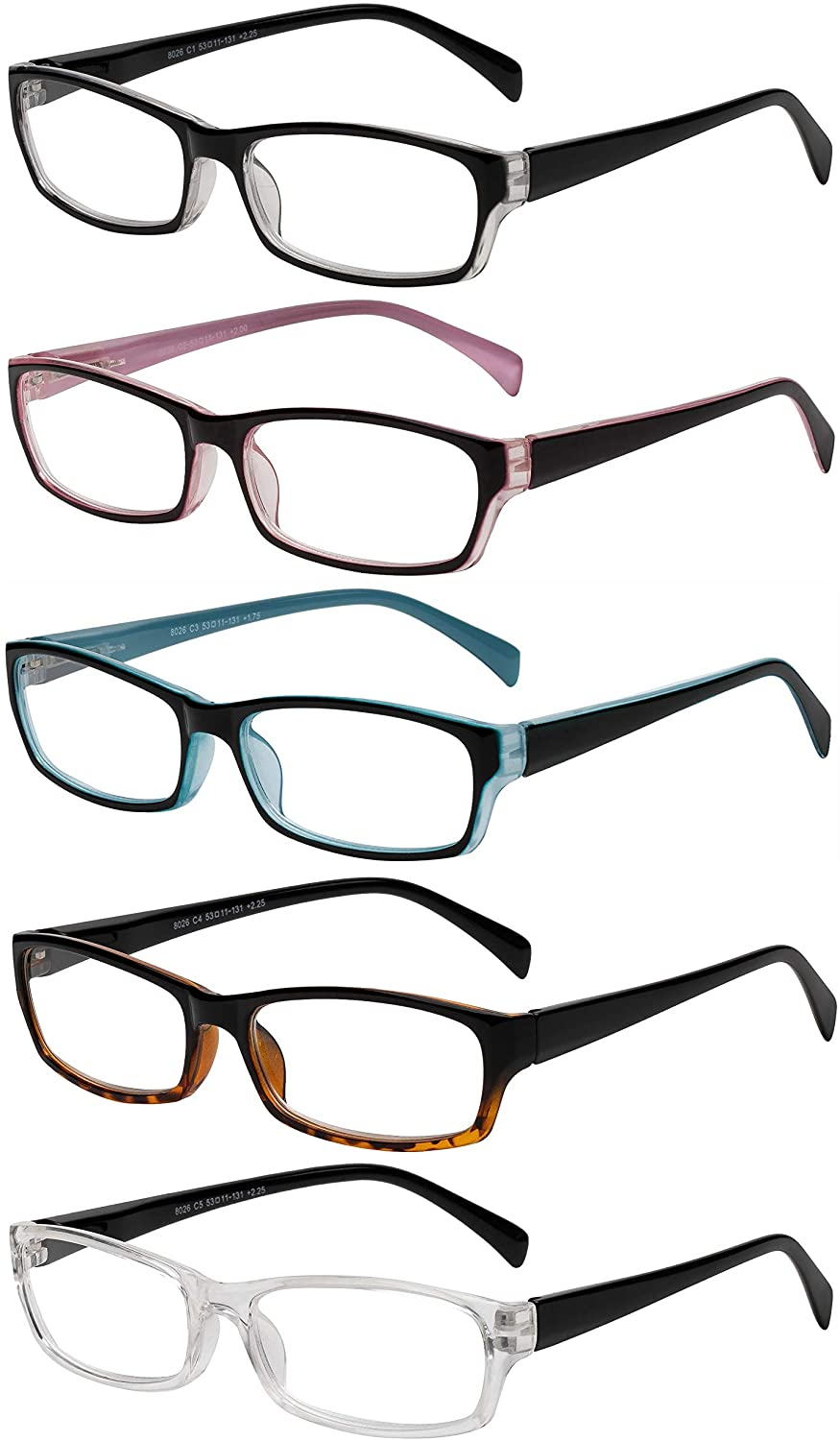 Reading Glasses 5 Pairs Fashion Ladies Quality Designed Spring Hinge Readers for Women