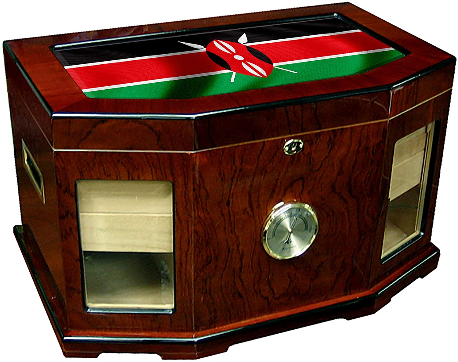 Large Premium Desktop Humidor - Glass Top - Flag of Kenya (Kenyan) - Waves Design - 300 Cigar Capacity - Cedar Lined with Two humidifiers & Large Front Mounted Hygrometer.
