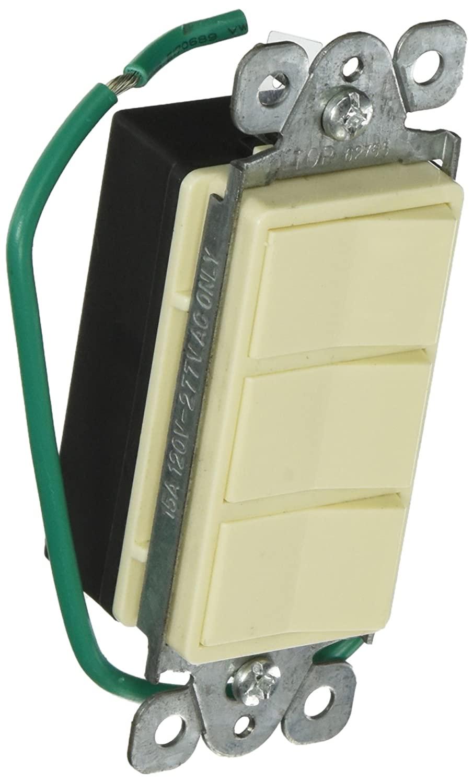 Morris 81973 Commercial Grade Decorative Triple Rocker Switch, 15 Amp Current, 120V/277V, Almond
