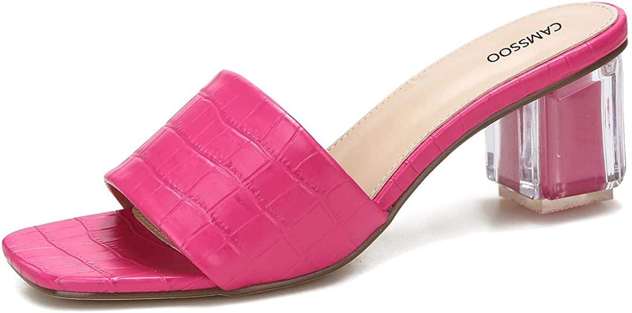 Women's Clear Heels Open Toe Mule Sandal with Slip On Block Low Heel Open Back Slide Slipper Sizes US 7-10.5