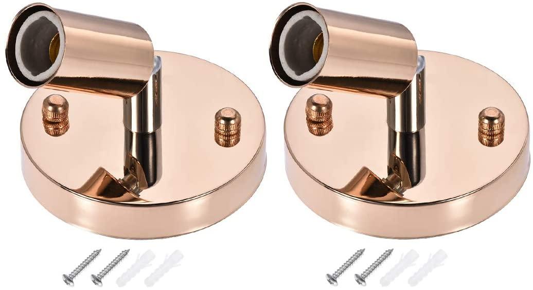 uxcell E14 Bulb Holder Socket Ceiling Lamp Light Wall Mounted 180 Degree Adjustable 100x20mm Beige Gold 2Pcs